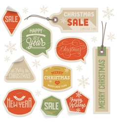 Stickers and Labels for Christmas and New Year vector