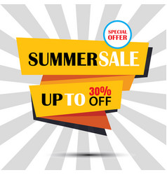 summer sale ribbon and sticker banner vintage vector image