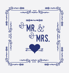 swirl art deco square frame with mr mrs heart vector image