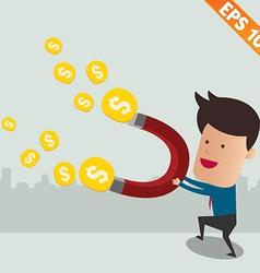 Thief use magnet copy attract money vector