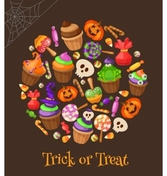 trick or treat traditional sweets and candies vector image