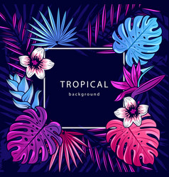Tropical background text with palm vector