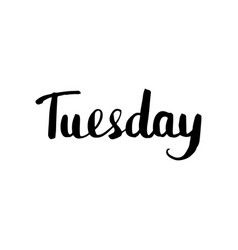 tuesday lettering isolated vector image
