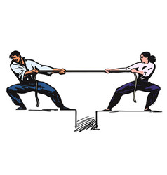 tug of war man and woman are pulling rope vector image