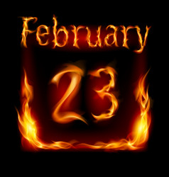 Twenty-third february in calendar of fire icon on vector