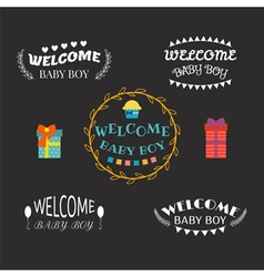 Welcome baby boy Baby boy arrival postcards Baby vector image