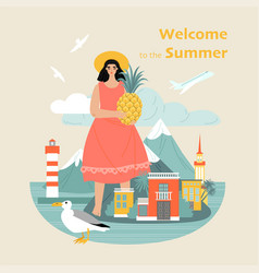 Welcome to summer concept with a cute girl vector