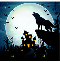 Wolves roar at the celebration of helloween vector