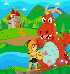Knight and dragon by the river vector image vector image