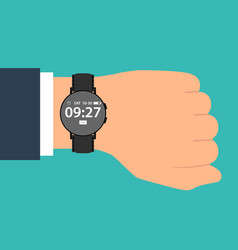 Smart watch on the hand of businessman in suit vector