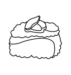 sushi roll food japanese traditional cook outline vector image