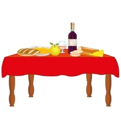 Table with meal and drink vector image