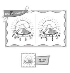 find 9 differences game japan vector image vector image