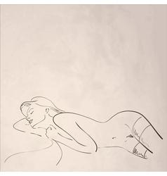 Hand-drawn nude woman vector image