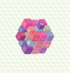 isometric projection infographic array of cubes vector image
