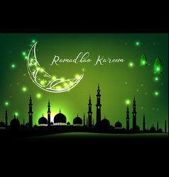 beautiful mosque with moon on green sky background vector image vector image