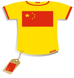 Chinese Flag T-shirt vector image vector image