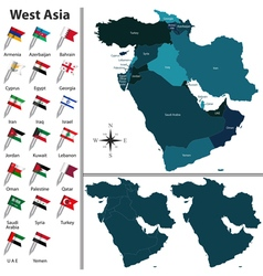 West Asia with flags vector image