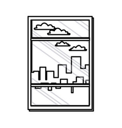 window with view building urban skyline line vector image