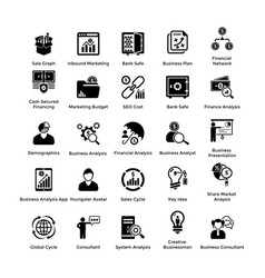 business and finance glyph icons set 5 vector image vector image