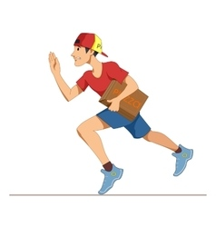 Express courier delivery of pizza A young man in vector image vector image