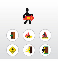 Flat icon door set of open door emergency vector