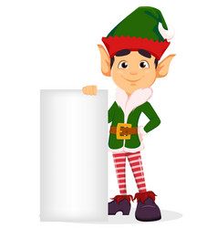 merry christmas and happy new year elf standing vector image vector image