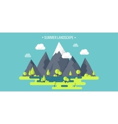 Mountain peak Summer spring landscape Nature vector image vector image