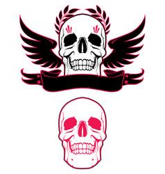 skull wings and ribbon vector image vector image