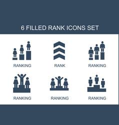 6 rank icons vector