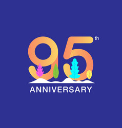 95 years anniversary celebration logotype vector image