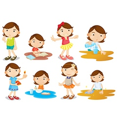 A young girls daily activities vector