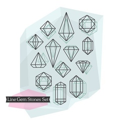 Abstract line gem stones icons set vector