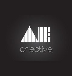 Ae a d letter logo design with white and black vector
