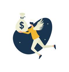 Angel investor flying bring money in sack vector
