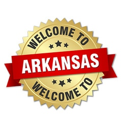 Arkansas 3d gold badge with red ribbon vector