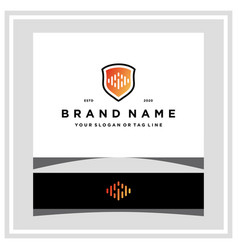 Audio wave and shield logo design vector