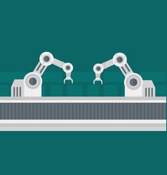 Automated robotic conveyor belt vector