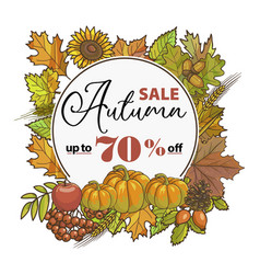 autumn sale up to 70 percent off shopping in store vector image