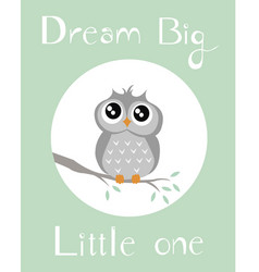 Baby owl with babygreen background vector
