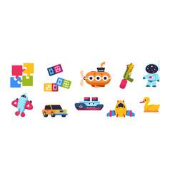 Baby toys cartoon kid submarine car spaceship vector