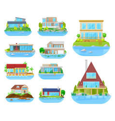 beach house building icons home villa cottage vector image