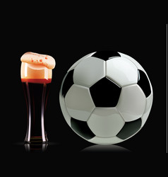 Beautiful beer glass and soccer ball photo vector