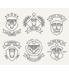Beer pong line logo set vector