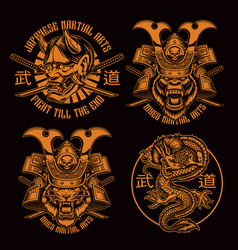 black and white samurai t-shirt designs vector image