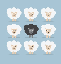 Black sheep in the crowd vector image