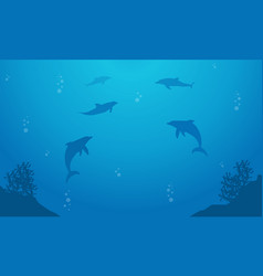 blue sea with dolphin landscape silhouette vector image