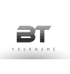 Bt b t black and white horizontal stripes letter vector