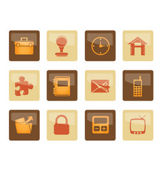 business and office icons over brown background vector image