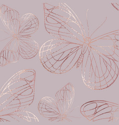 Butterfly rose gold elegant texture with foil vector